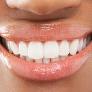 close-up on woman's beautiful smile